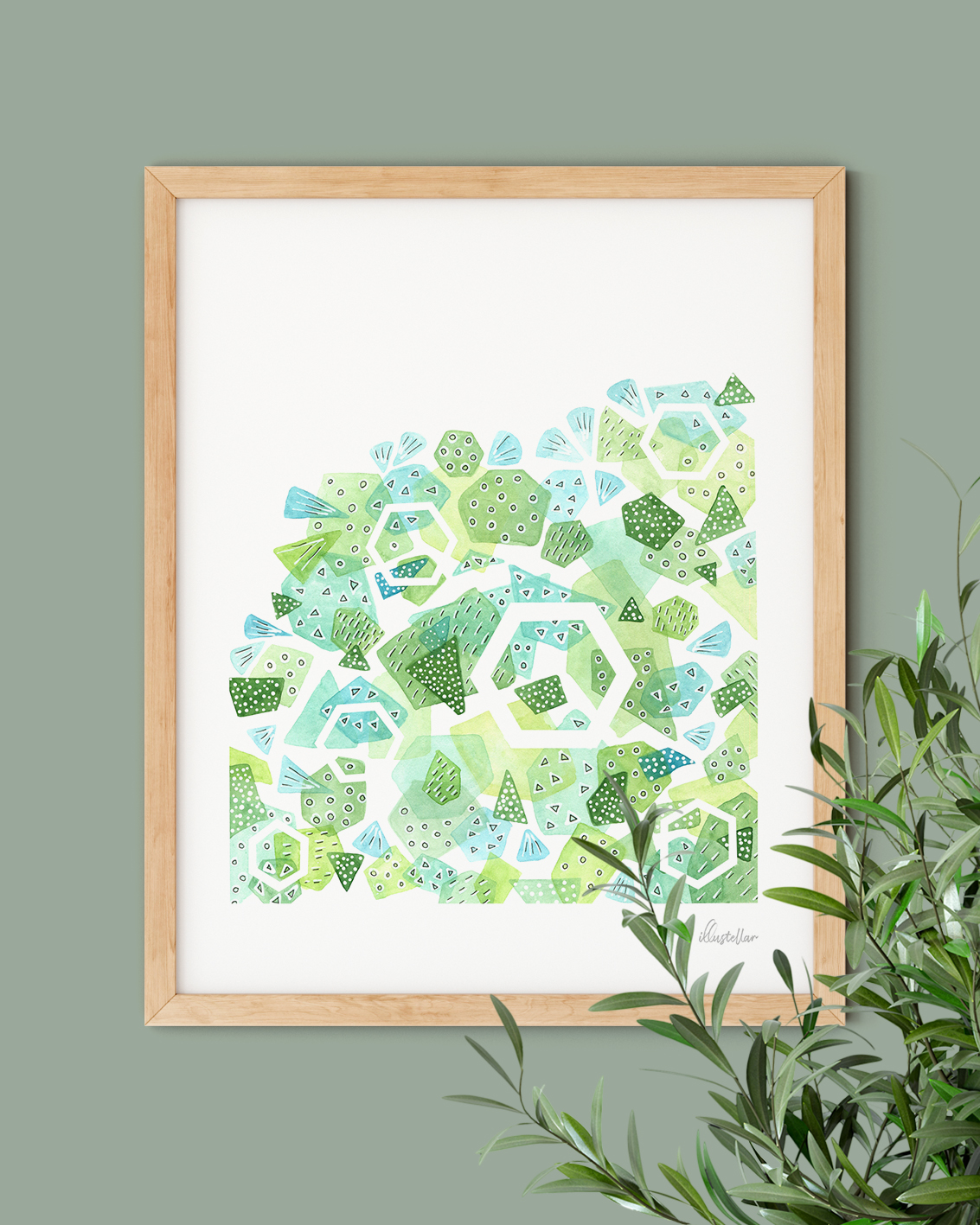 Geometric abstract green wall art in a wooden frame