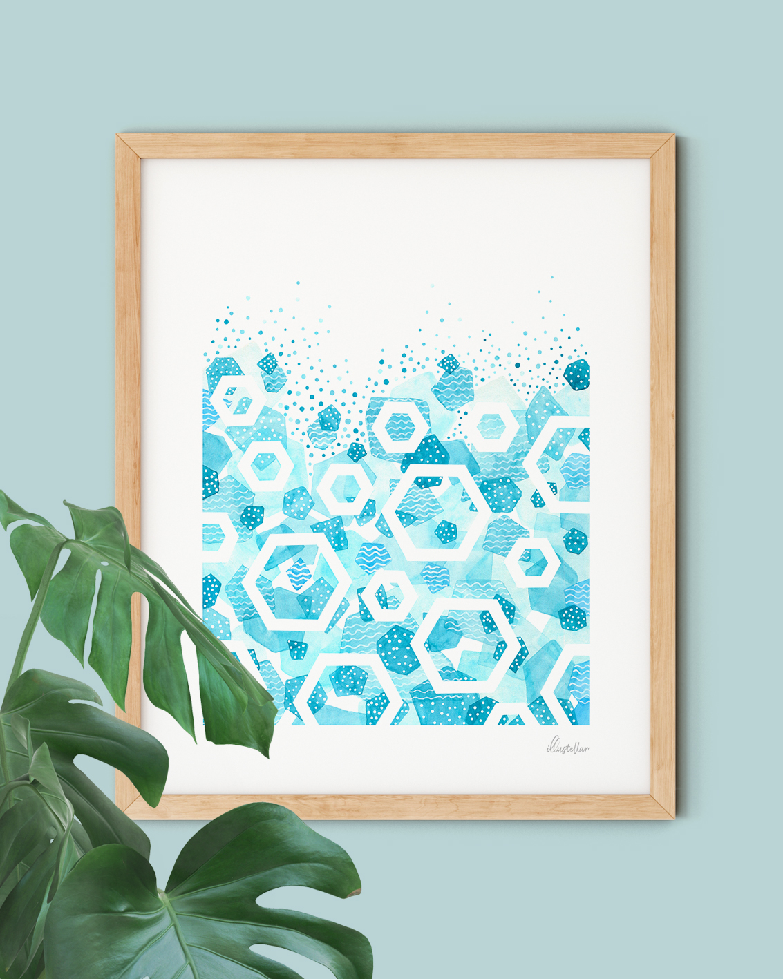 Blue Geometric Abstract Ocean Wall Art