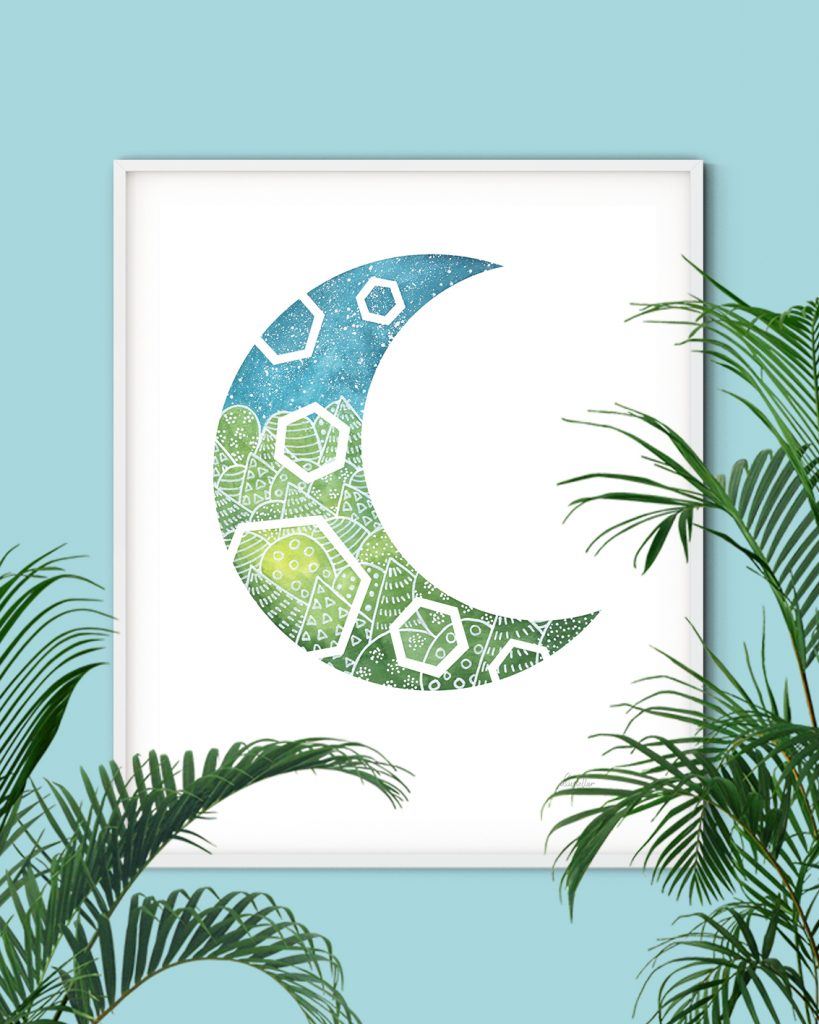 Blue and green moon shaped wall art for modern nursery or living room