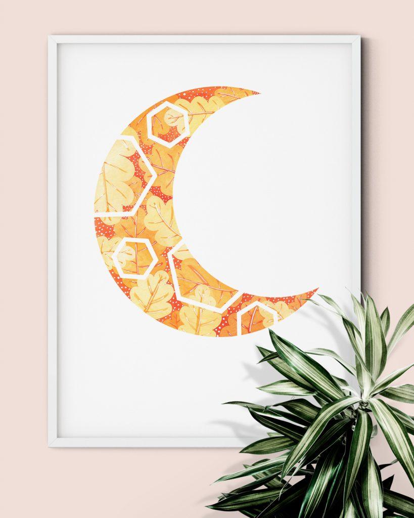 Autumn orange leaves moon shaped geometric wall art